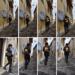 Femme qui sort dans la rue avec son sac sur l'épaule