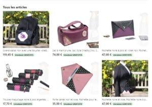 6 fiches produits de la boutique en ligne de sacs et pochettes