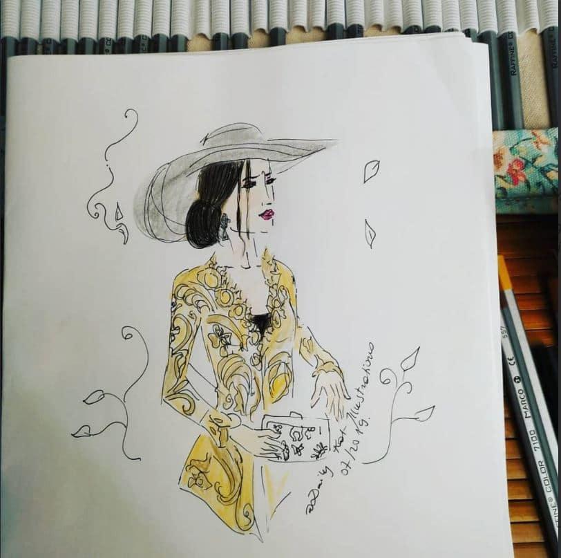 Illustration de femme en chapeau de paille avec une robe jaune, illustration de mariage, DailyKat