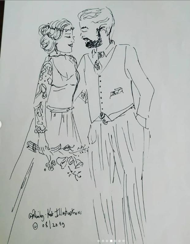 Couple de mariés, illustration au crayon noir, DayliKat, Illustration mariage