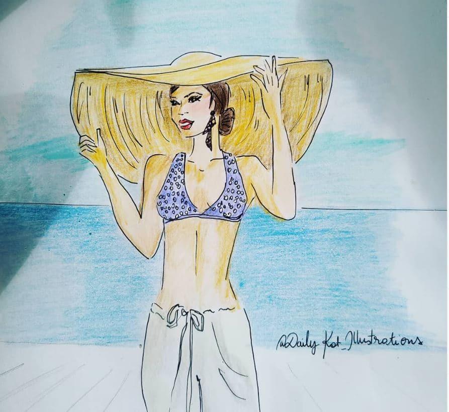 Femme au chapeau de paille sur la plage, illustration de mode, DailyKat