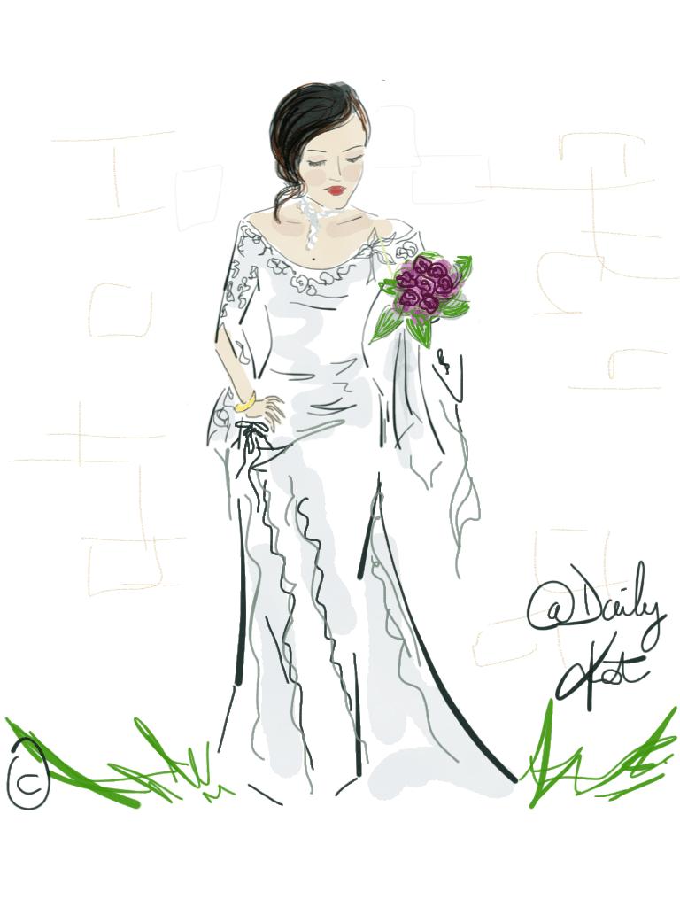 Marié avec une grosse rose rouge dans les mains, illustration de mariée par DailyKat