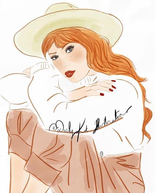 Femme au chapeau assise et rêveuse
