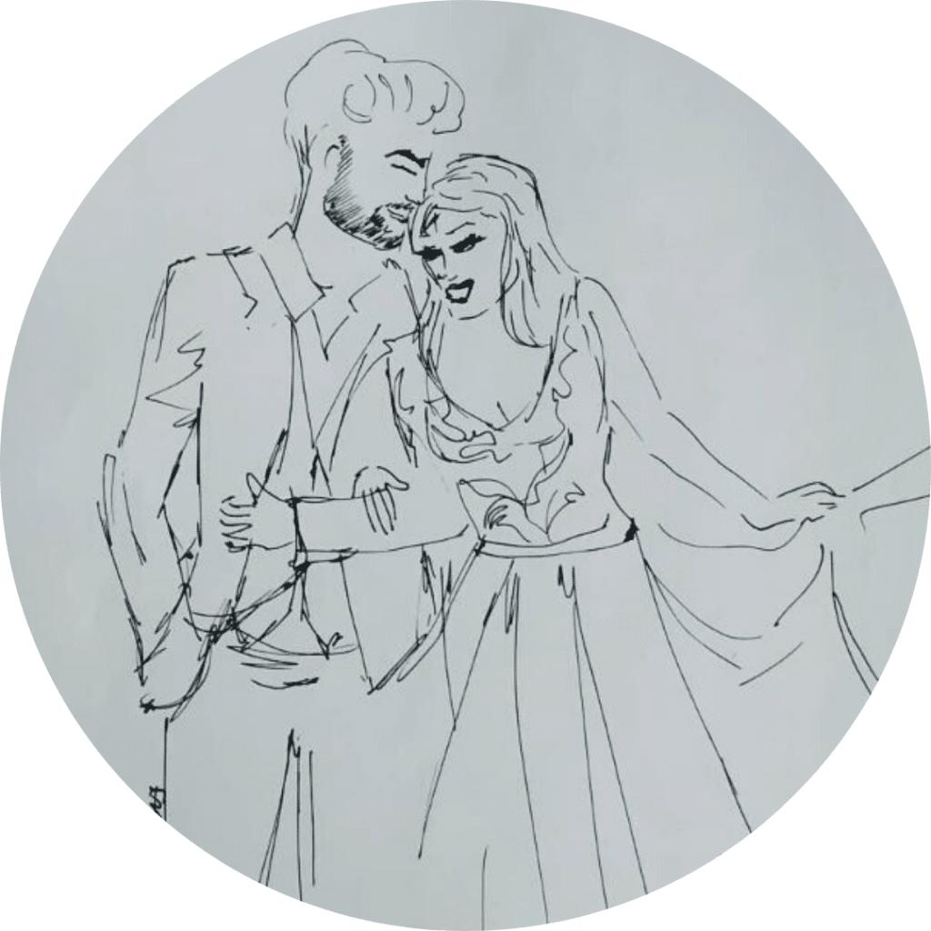 Couple de marrié illustré au crayon noir, DailyKat, Illustratrice de mode