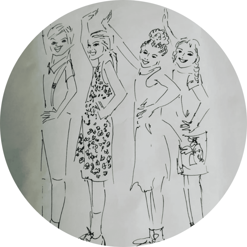 Des jeunes filles qui danses, illustration au crayon noir