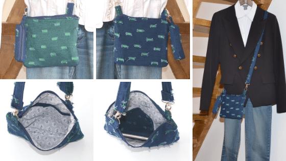 Pochette bandoulière ultra légère, bluer et verte, style bohème chic