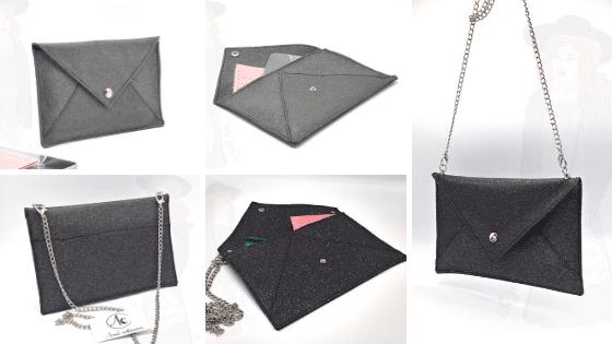 Pochette de soirée noir argenté, chaine argenté, ActiveLilie Création