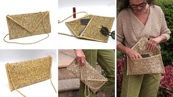 Pochette enveloppe dorée, à porte en bandoulière, chaîne dorée amovible, ActiveLilie Création