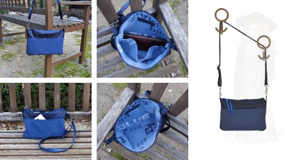 Pochette bandoulière bleu, posée sur un ban de jardin, ActiveLilie Création