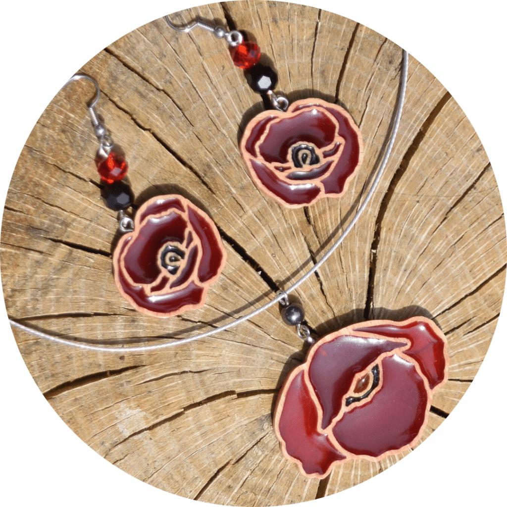 Ensemble boucles d'oreilles et collier coquelicot