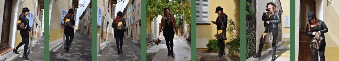 Photos de femme d'une femme qui s'éloigne en marchant dans une rue d'Antibes