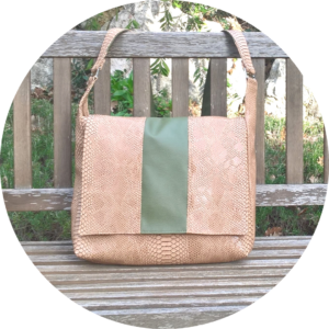Grand sac léger, en cuir synthétique peau de dragon de Komodo, beige et vert kaki, ActiveLilie