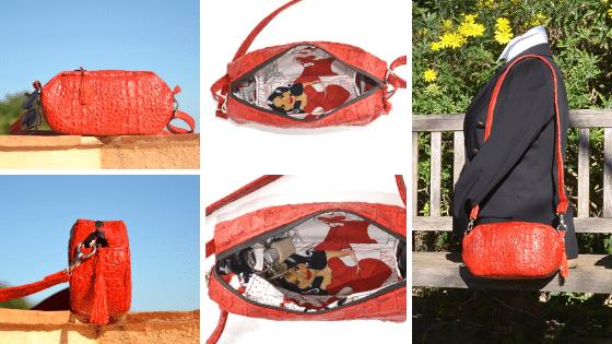 Petit sac de forme octogonale rouge coquelicot, en peau de cobra (cuir synthétique) à porter en bandoulière, ActiveLile