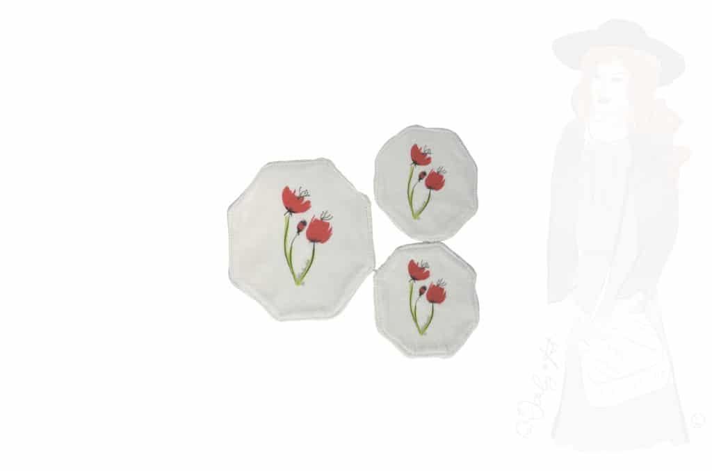 3 lingettes lavables au motifs coquelicot