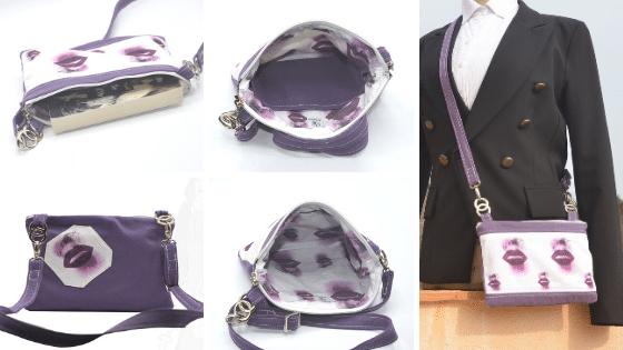 Pochette bandoulière violette avec des motifs de bouches, ActiveLilie