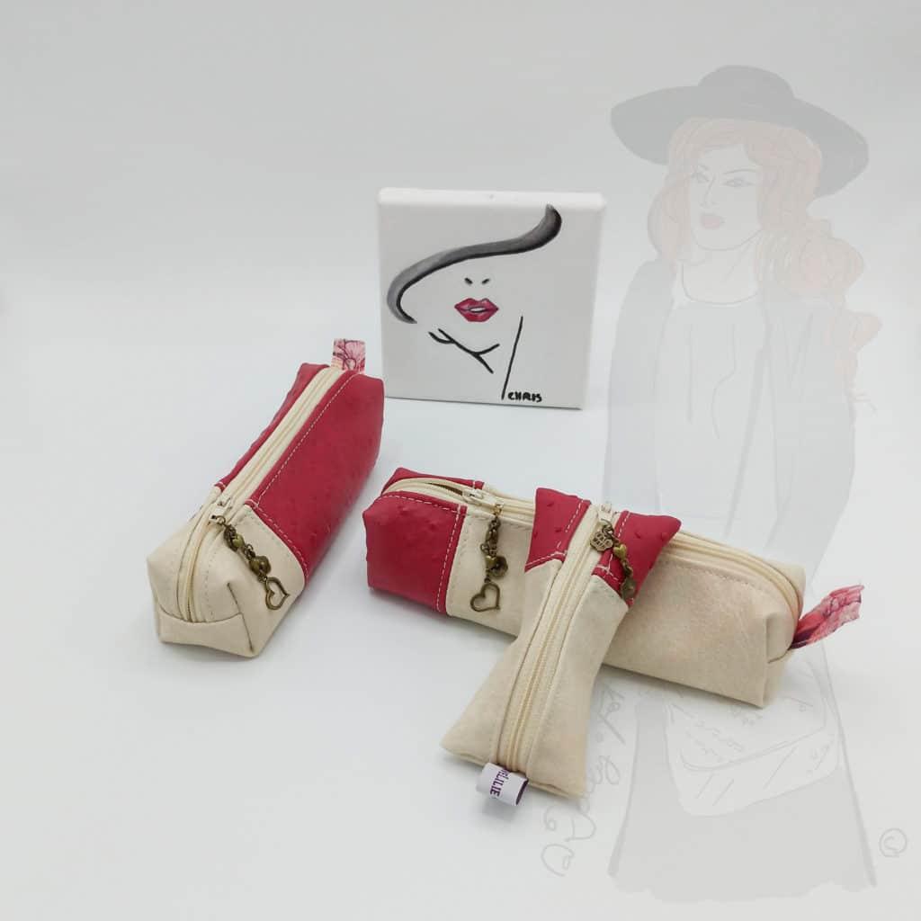 Ensemble de pochettes roses et ivoire