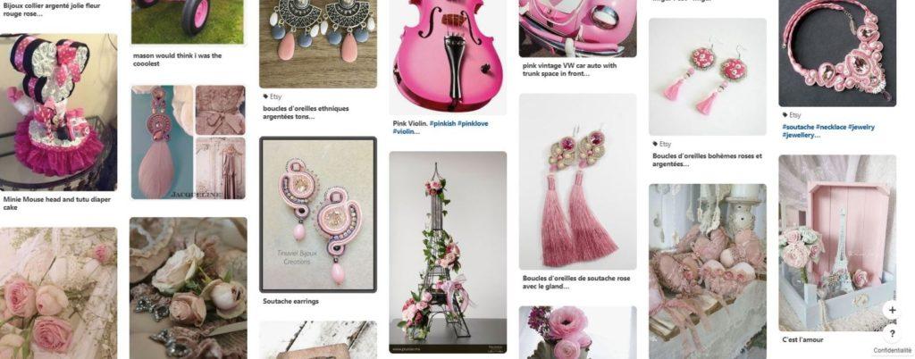 Tableau Pinterest avec des épingles roses