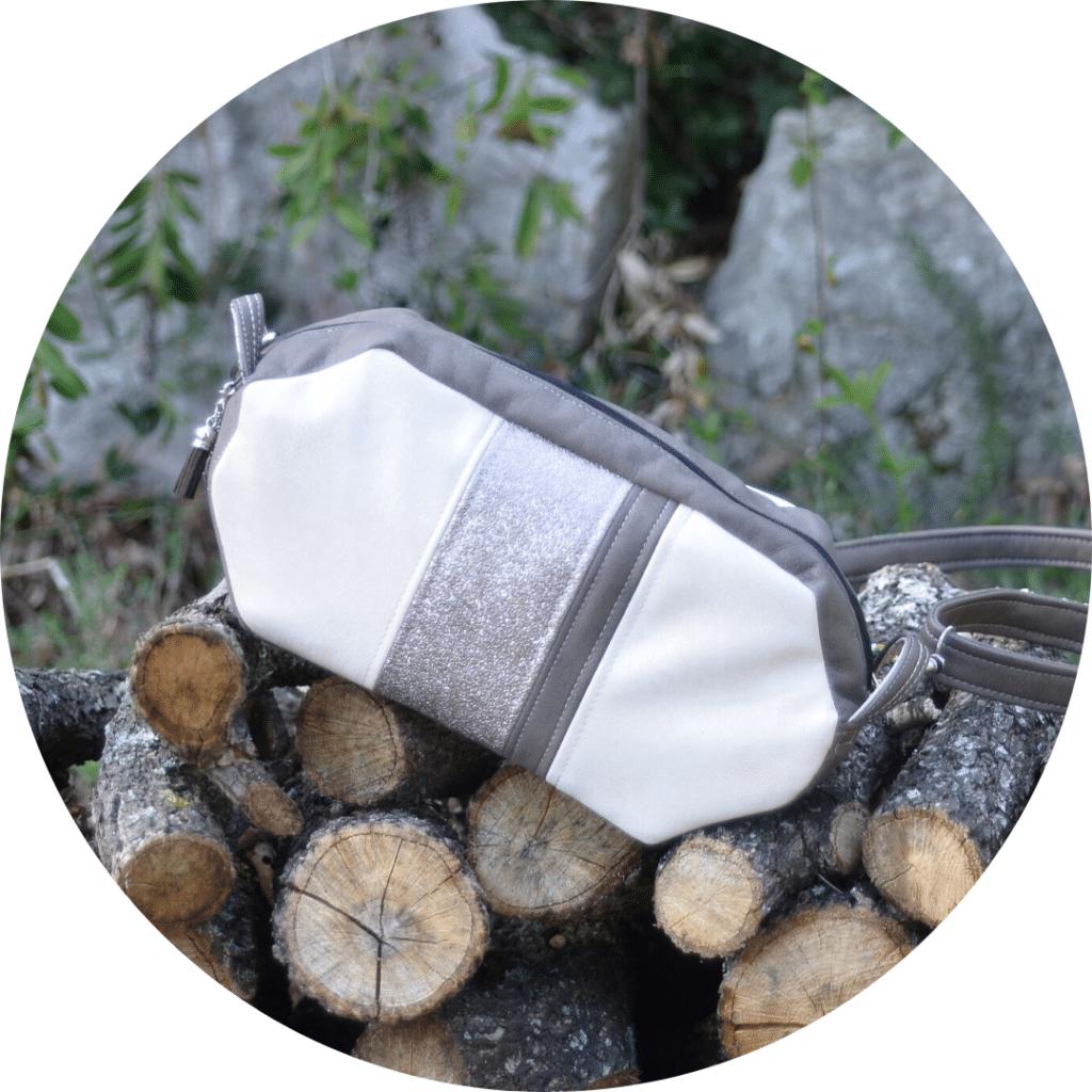 Sac bandoulière ivoire, taupe et gris argenté