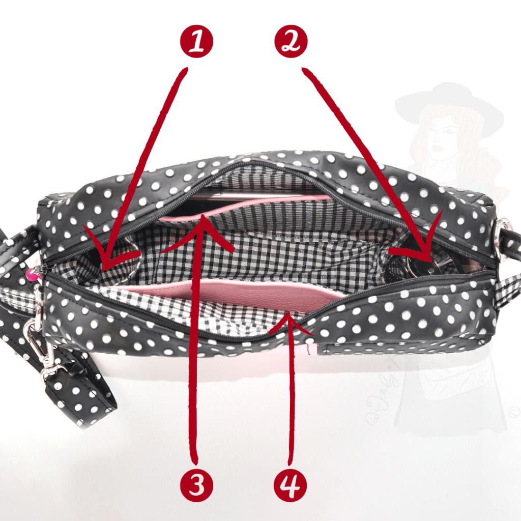 Les quatre poches intérieures du sac