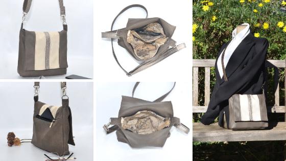 Photos sous tous les angles du sac bandoulière taupe