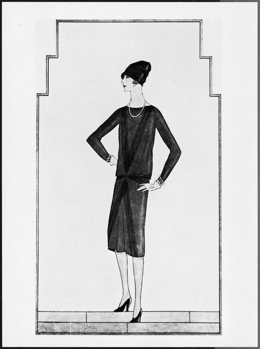 Premier dessin de Chanel de sa petite robe noire