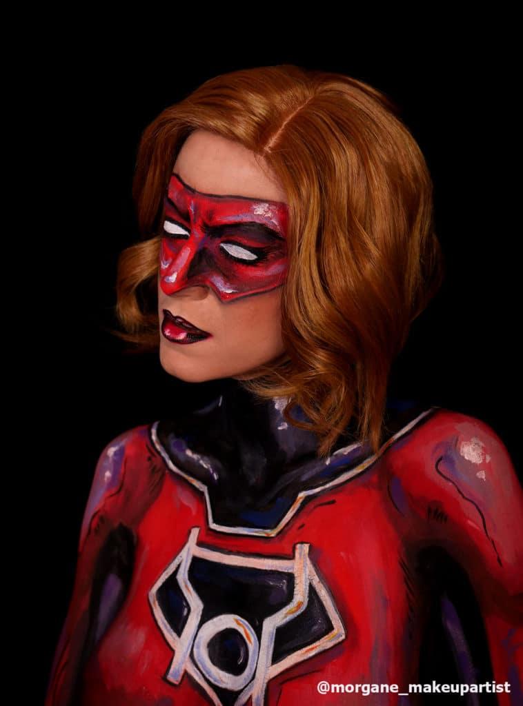 Body painting de Red lantern girl, sur le modèle Morgane