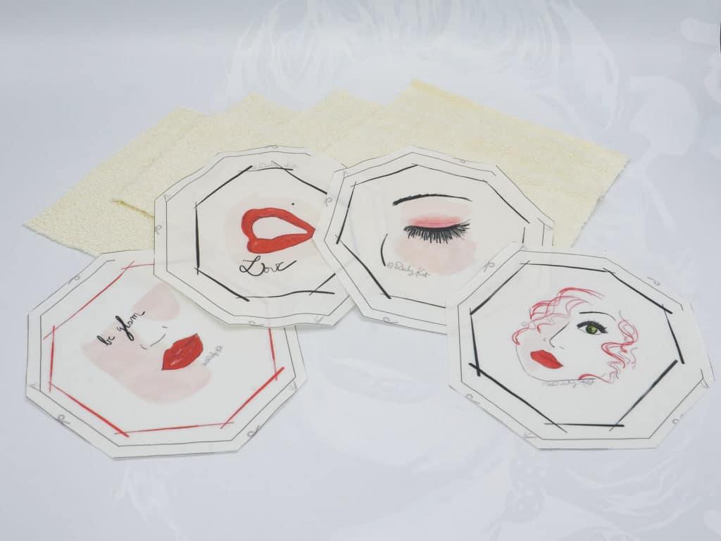 Lot de 4 lingettes lavables en cours de fabrication : Découpé des pièces octogonales