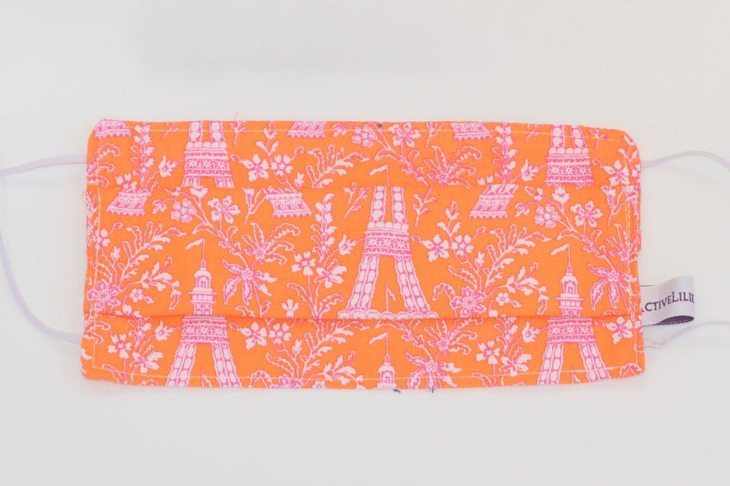 Masque en tissu personnalisé, pais et tour Eiffel rose