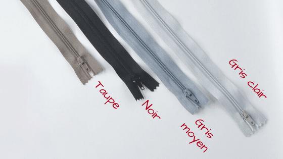 Fermetures éclairs noires et grises