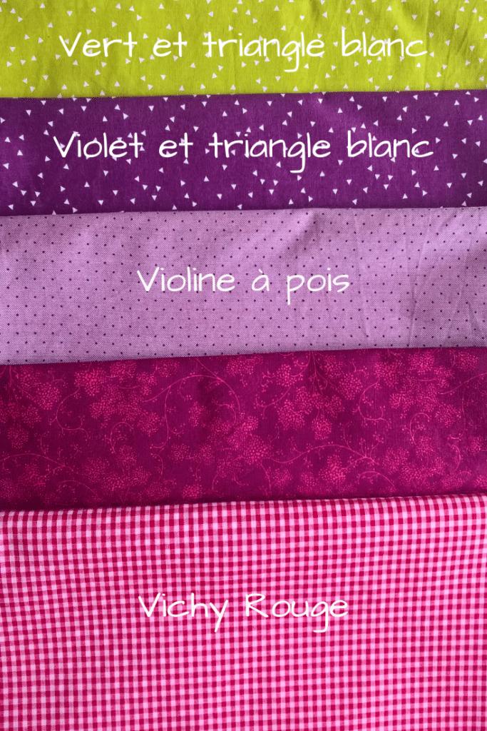Tissu pour masque au choix, plusierus tissus violet et rouge