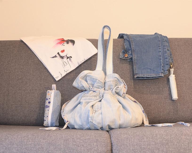 Comment recycler tes vieux jeans avec élégance ? Le Midem, grand sac bourse, ActiveLilie Création