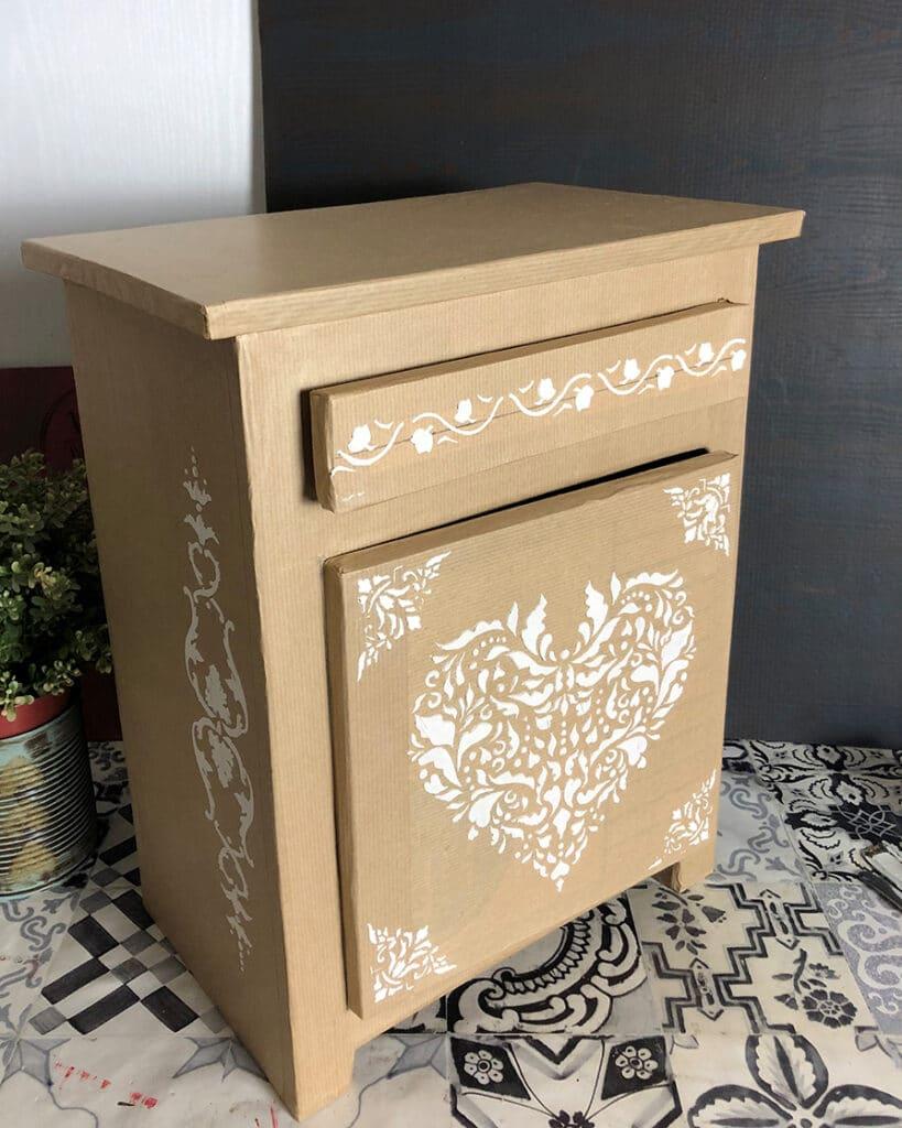 Table de chevet en carton solide, mobilier en carton solide