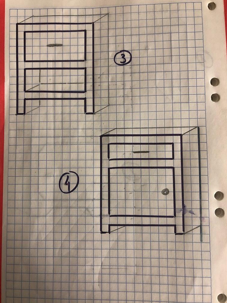 Croquis ave la fabrication de mobilier en carton recyclé, double opu tripple cannelure