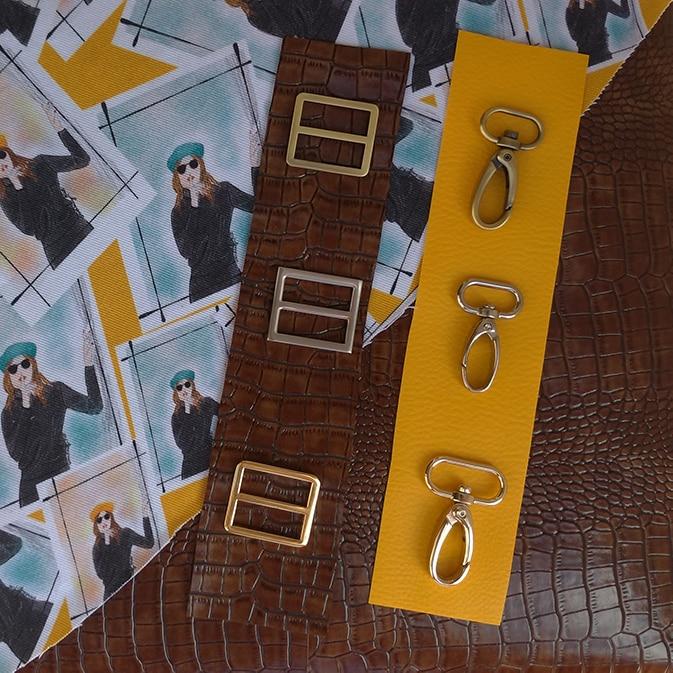 Pour les accessoires de son sac sur lesure : Mousquetons et passants couleur acier, or et bronze